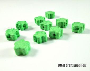 Green greek ceramic beads, green flower beads, set of 12