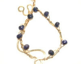 Sapphire Necklace, Wire Wrapped Pendant, Gold Filled Necklace