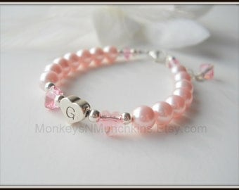 Sterling Heart Initial Bracelet with Swarovski Flowers and Pearls B097