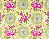 Circa by Jennifer Paganelli for Free Spirit Fabric Green Austin Purple Floral Flowers with Green Geometrics