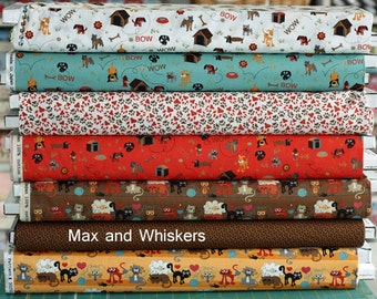 OOP HTF MODA Fabric Max and Whiskers by Basic Grey 7 yards collection of different Prints