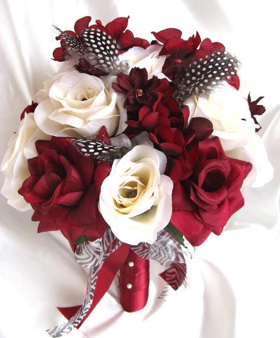 Wedding Bouquet Bridal Silk Flowers Burgundy Cream Black