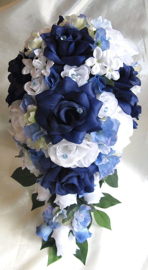 Blue And White Silk Wedding Bouquets : Wedding bouquet bridal silk flower pieces package navy blue