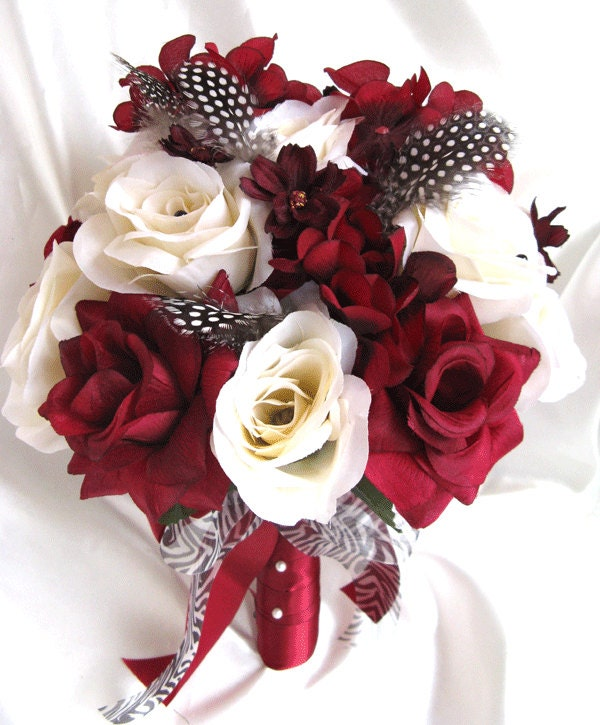 wedding bouquet bridal silk flowers burgundy cream black. Black Bedroom Furniture Sets. Home Design Ideas
