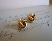 Love Knot Studs Post Earrings Vintage Sweet Easy Gold plate Nautical Knots Spring Chic Gift for her under 20