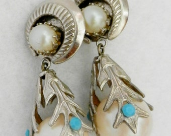 Ancient and Fantastic long earrings 1950 - great design with silver, pearls and turquoise -original vintage Italian -Art.389/2--