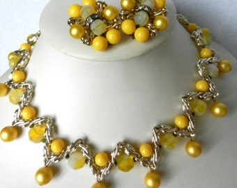 Bright parure choker necklace & earrings -1950, color and femininity to a timeless jewel  -art.542/2-