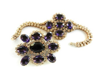 Dazzling demi parure bracelet & brooch 1960 - Czechs large crystals, opulent purple and white perfect -art.578/2-