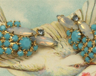 Vintage Blue Turquoise Rhinestone Clip Earrings