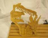 US STATE of  WISCONSIN  Scroll Saw Plaque