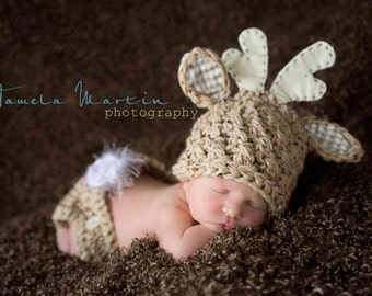 "Baby Deer Hat, Baby Boy or Girl, ""Oh My Deer"", Deer Hat and Diaper Cover Set, Photo Prop"
