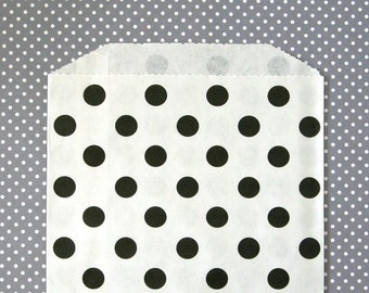 Black Polka Dot Goody Bags - Dessert Table, Wedding, Birthday Party Favor Bags (20) - 5 x 7.5 inches