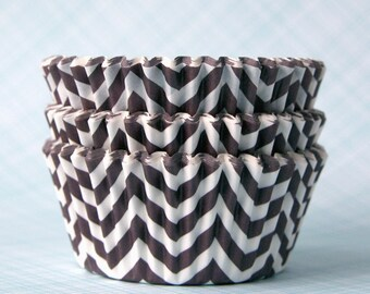 Brown Chevron Cupcake Liners, Designer Chevron Cupcake Liners, Brown Baking Cups, Wedding Cupcake Liners (50)