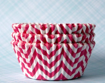 PINK Chevron Cupcake Liners, ZigZag Cupcake Liners, Designer Chevron Liners, Wedding Liners, Birthday Party Liners (50)
