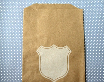 Paper Bags - Kraft Goodie Bags - Shield Design Brown Bags (20) - Midi Size - 7 x 5.5 inches
