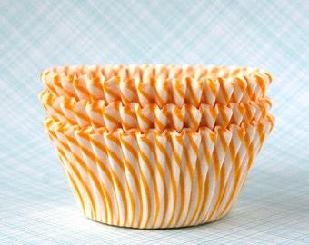 Yellow Stripe Cupcake Liners, Carnival Stripe Baking Cups, Yellow Cupcake Liners, Summer Cupcake Liners (50)