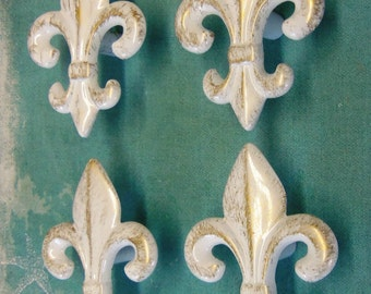 4  Fleur de Lis Knobs Upcycled White Paris Apartment Chic Shabby New Orleans Distressed
