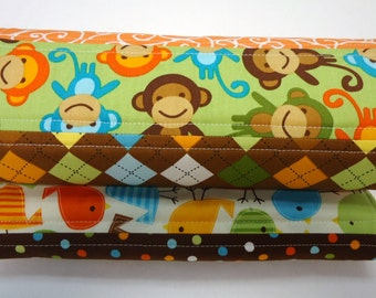 Baby Boy Burp Cloth, Burp Cloths, Owls, Birds, Brown, Orange, Quilted Patchwork, and Homemade