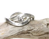 Silver Gray Zircon Wave Wedding Ring Set - Two Waves in the Storm - NangijalaJewelry
