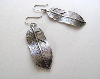 Antiqued silver feather pendant earrings, dangle drop
