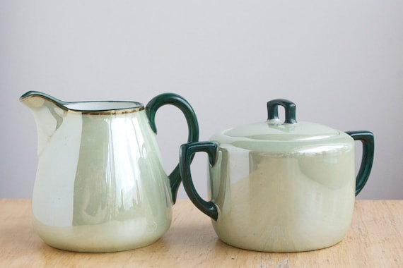 RESERVED Creamer and Sugar Set, Lustreware, Sea Green, On Sale