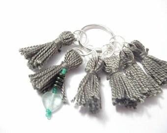 Stitch Markers Green-Gray Tassels Set: Glass Heart Beaded Row Marker