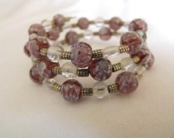 Purple flowered wrap bracelet