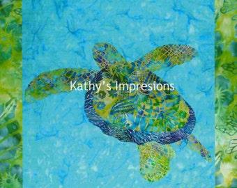 "HONU Sea TURTLE with Border and Seam Allowance- 6.5"" Kona Cotton Fabric Quilt Panel Block- Tropical Ocean Hawaii"