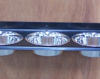 3 Bowl Triple Dish Wall Mount Metal Dog Feeder
