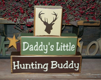 New Boys Daddy's Hunting Buddy Wood Sign Blocks Deer Can Be Personalized Nursery Kids Room Decor