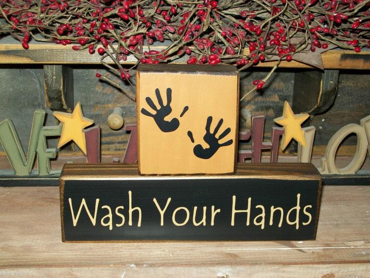 Primitive Wash Your Hands Wood Sign Shelf Blocks By