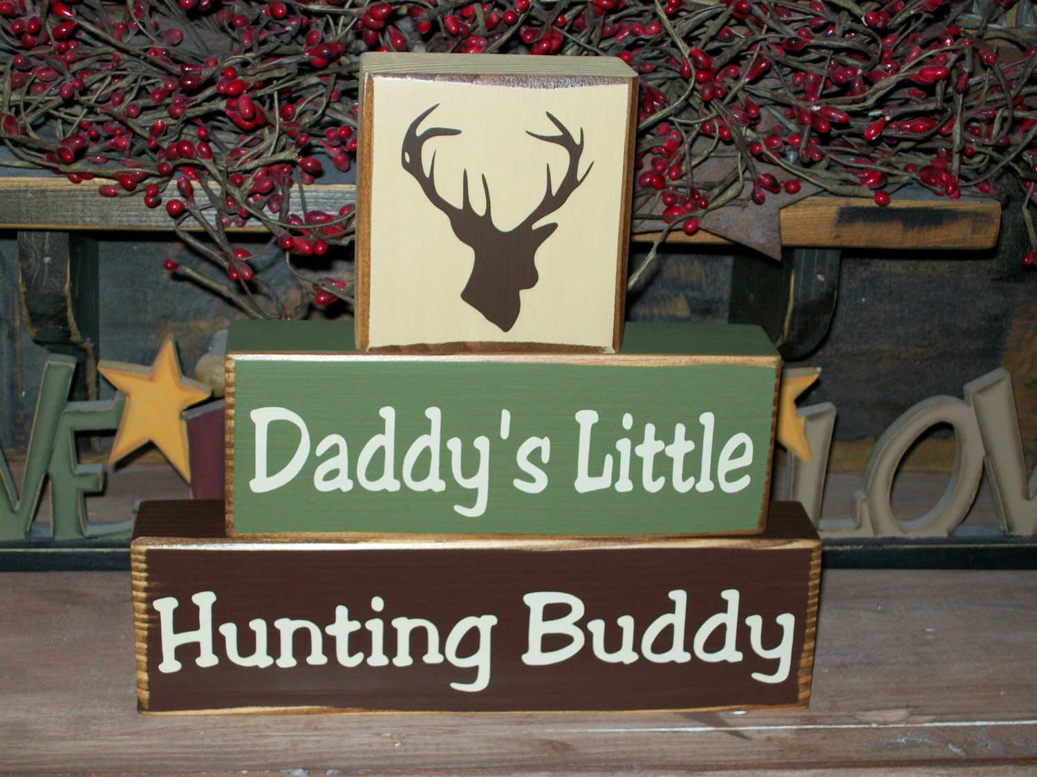 New Boys Daddy S Hunting Buddy Wood Sign Blocks Deer Can