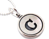 Typewriter Key  Necklace Typewriter Key Pendant in Solid Sterling Silver - Other Letters Available