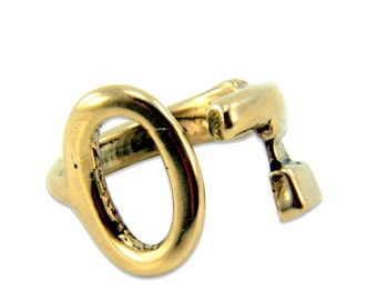 Bronze Skeleton Key Bypass Adjustable Ring - Gwen Delicious Jewelry Design