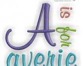 "Averie Monogram Alphabet - Satin Stitch - .5"", 1"", 2"", & 3""- Instant Download Machine embroidery design"