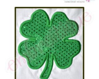 Shamrock 2 Lucky Clover St. Patrick's Day Applique -Instant Download -Digital Machine Embroidery Design