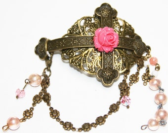 Cross With  Lace & Rose Bracelet with Glass Vintage Beads