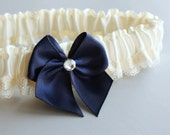 Simple Something Blue Silk & Lace Toss Garter -- Ivory and Navy Blue (Custom Colors Available)