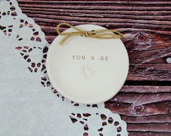 Ceramic ring plate Ring pillow alternative You & me Wedding ring bearer Ring dish, Ring bearer pillow alternative