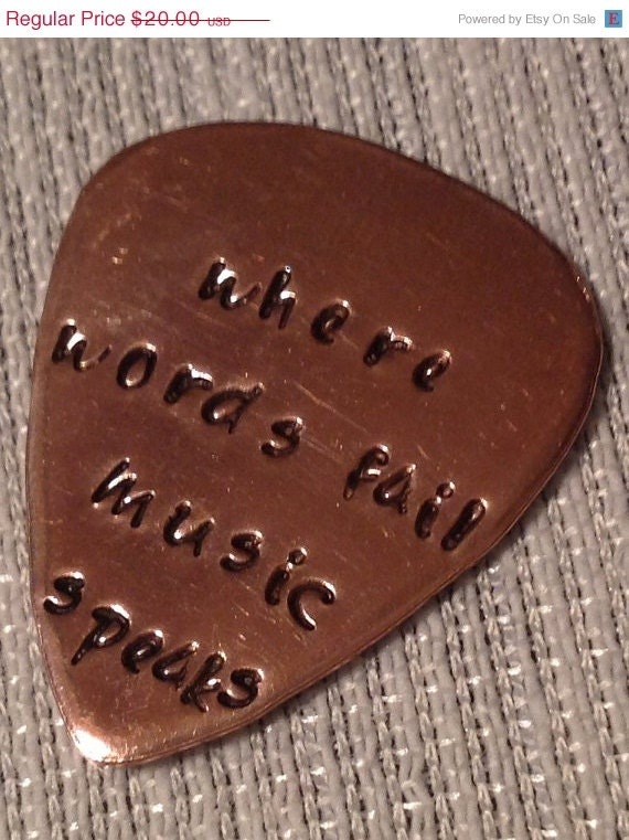 Hand Stamped Guitar Pick Copper Rustic Mens Gift Wedding Gift Music Lover