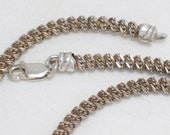 Diamond cut vintage estate Italian 925 sterling silver Unique  spiral rope type link chain necklace 20 inch