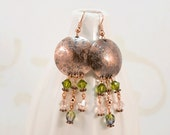 Earrings, Large Metal Shield, Green Swarovski Crystal Dangles