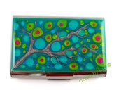 Extra Large Business Card Case Hand Painted Enamel Fuchsia Turquoise and Green Blossom Inspired Custom Colors and Personalized Option
