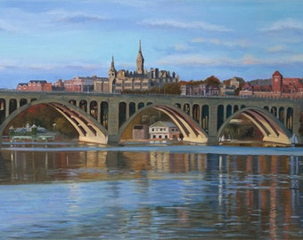 Small Giclee of Key Bridge and Georgetown