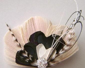 Peacock Hair Clip BLACK STRIPED Heart Feather and Rhinestone Wedding Hair Fascinator Clip Bridal Party