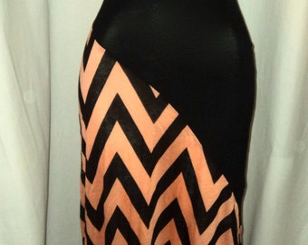 Women Long maxi dress two tone, chevron  coral/black Messanger maxi