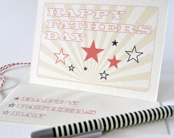 Fathers Day Card - Happy Fathers Day - Vintage-looking Stars Sunburst