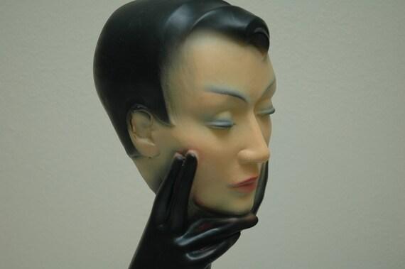 Christian Dior Mannequin Antique Head Bust Eye Glasses Hats Scarves Mod Statue MidCentury Modern 1940 1950 Ambient Atelier Art Dealer