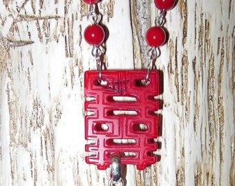 Red Coral Carved Chinese Character  Necklace