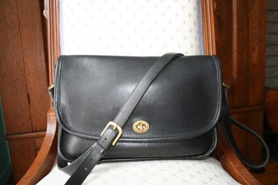 COACH Large City BAG Vintage BLACK Leather Crossbody Messenger Shoulder 9790